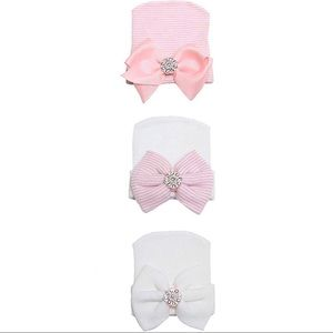 Other - Newborn Girl Beanie with Large Bow with Crystals